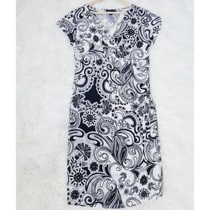 ABstudio Paisley Floral Black & White Wrap Dress